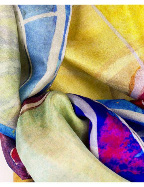"""Silk scarf """"Ocean blue eyes"""""""