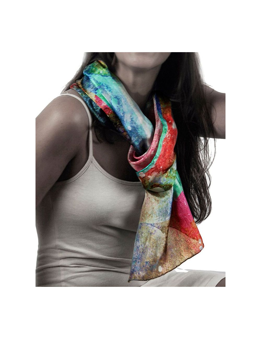 """Fuchsia Paradise"" silk scarf on vivid and joyful colors"