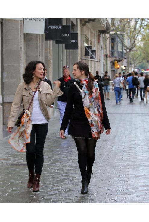 Crancs, natural silk scarf on warm, vivid and fresh colors.