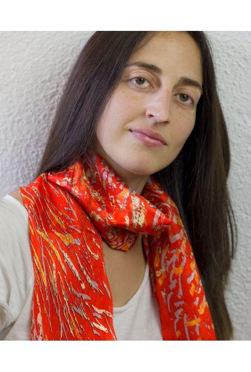 """San Juan Fire V Red"" silk scarf"