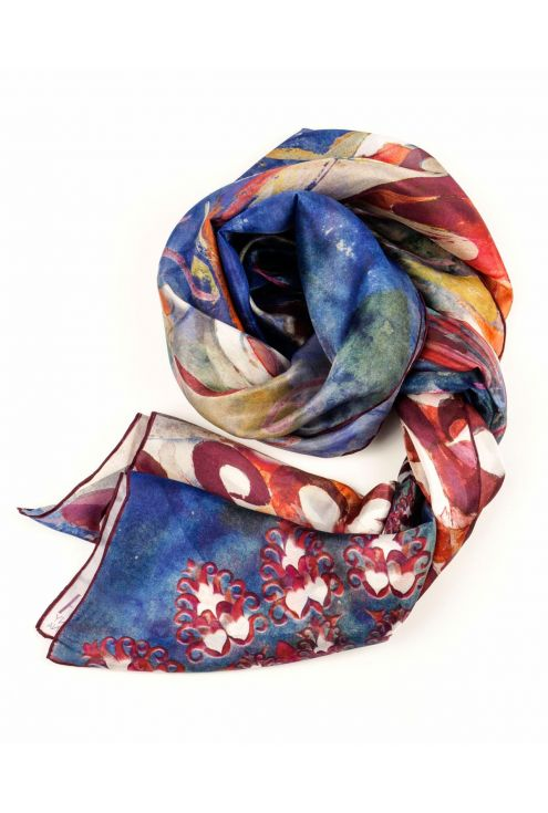 "Silk scarf ""Blue feathers on the wind"" - modernism art on your neck"