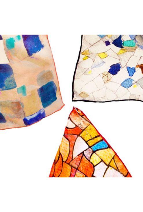 Gaudí auténtico - 3 pañuelos inspirados por las obras de Gaudí