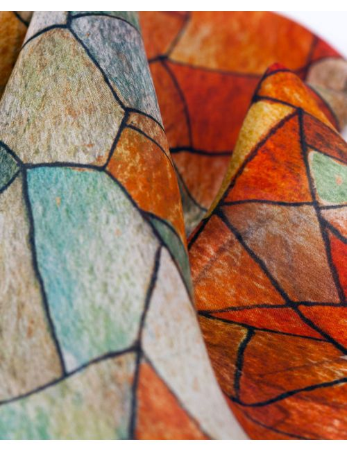 Heaven and Earth, silk scarf inspired in Gaudí's art. Fall colors on a geometric design.