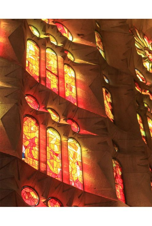 Pure silk scarf inspired by the stained glass of La Sagrada Familia