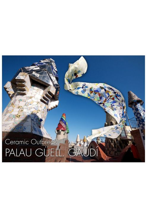 Silk scarf inspired by the ceramic works of Gaudi in Palau Guell