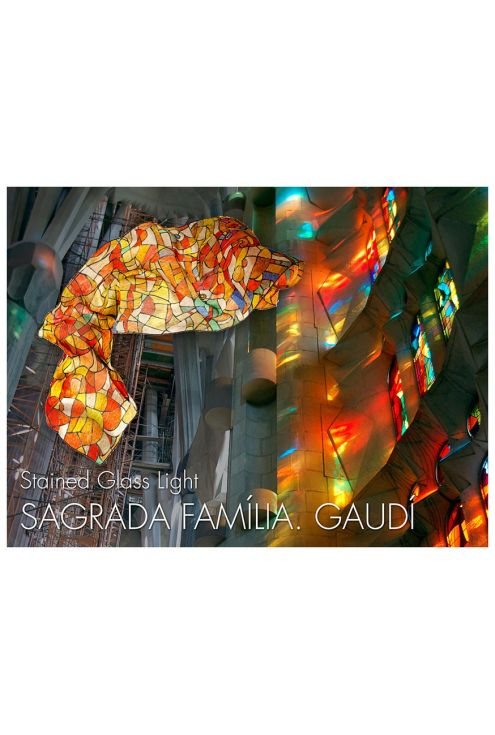Stained glass light, natural silk scarf, on red and oranges tones.