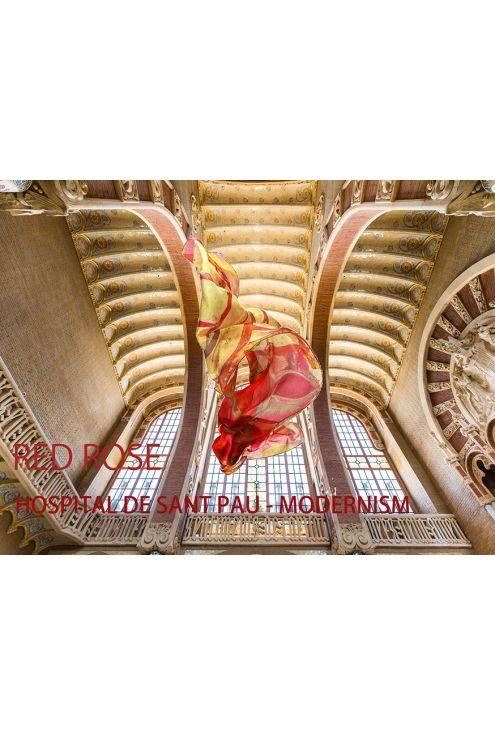 "Silk Scarf ""Hospital Sant Pau Red Rose"""