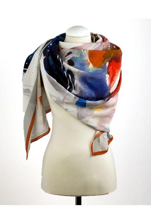 "Crepe Chine Silk scarf ""Afternoon Tea"""