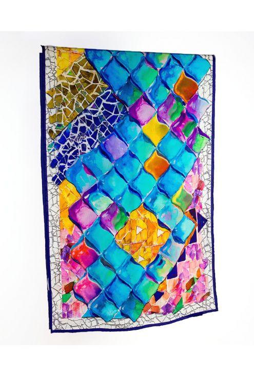 "Crepe Chine Silk scarf ""Gaudí Scales"""