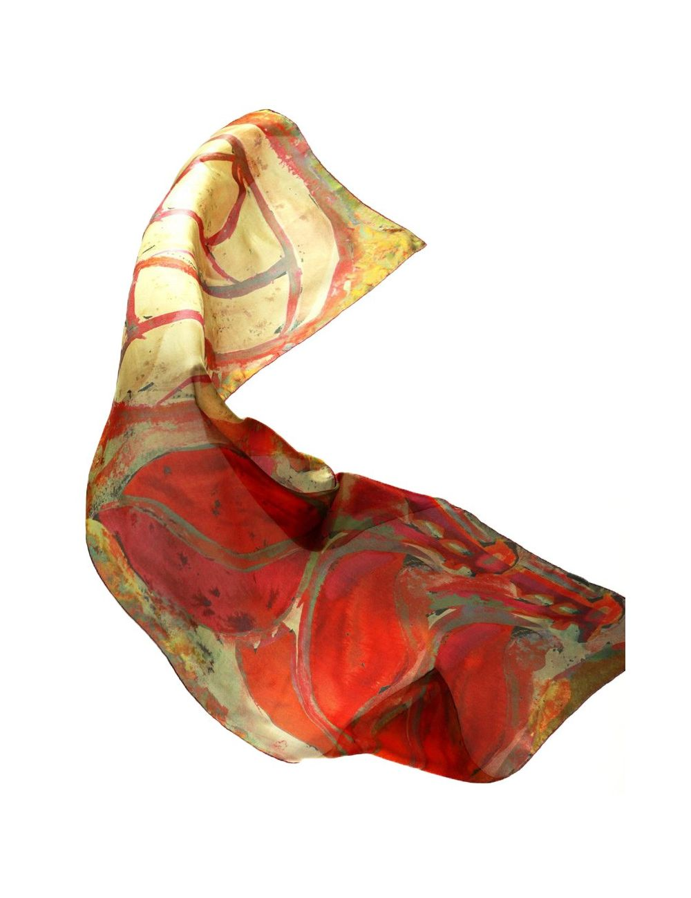 "Silk Scarf ""Hospital Sant Pau Red Rose"""