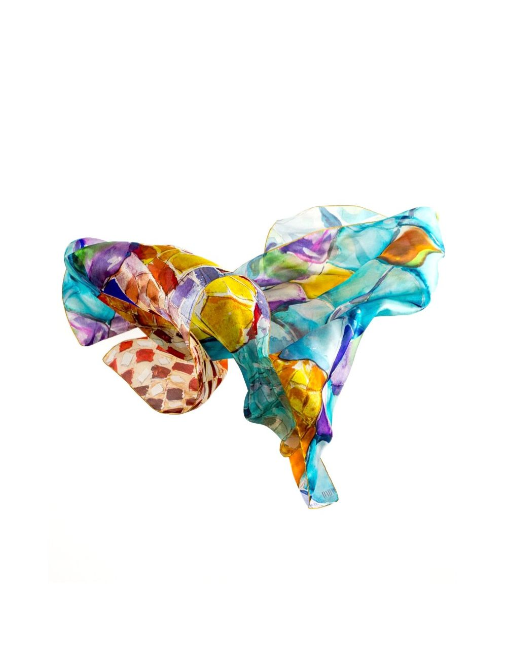 "Silk scarf ""Gaudi Scales"" XL"
