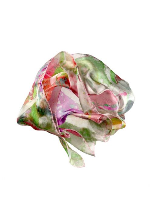 "Silk scarf ""Buzzing Garden Pink"""