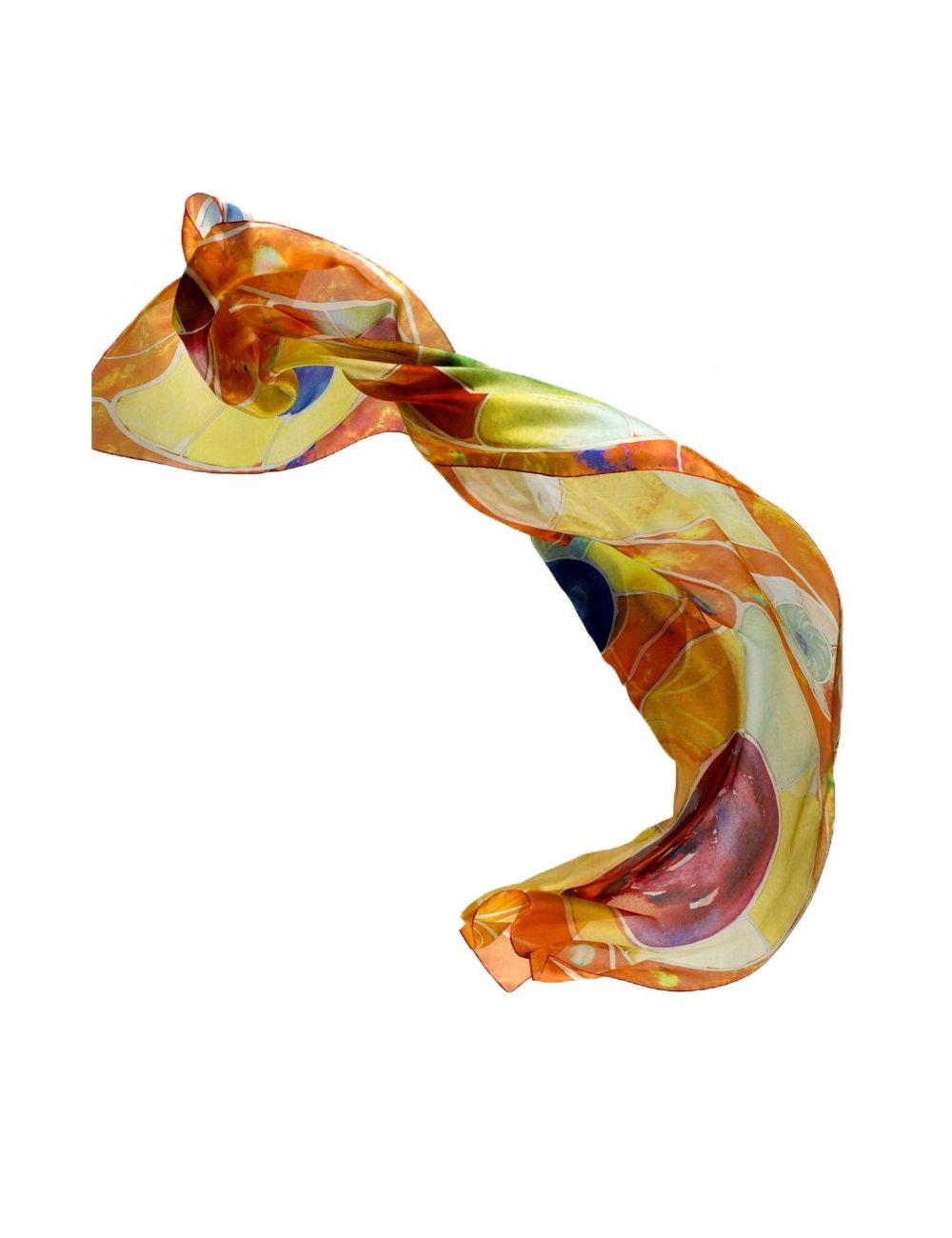 """Silk scarf """"Ocean red eyes"""""""