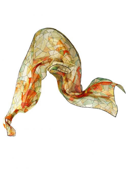 Cielo y Tierra, fular de seda natural y diseño geométrico inspirado en el arte de Gaudí. Colores tostados.