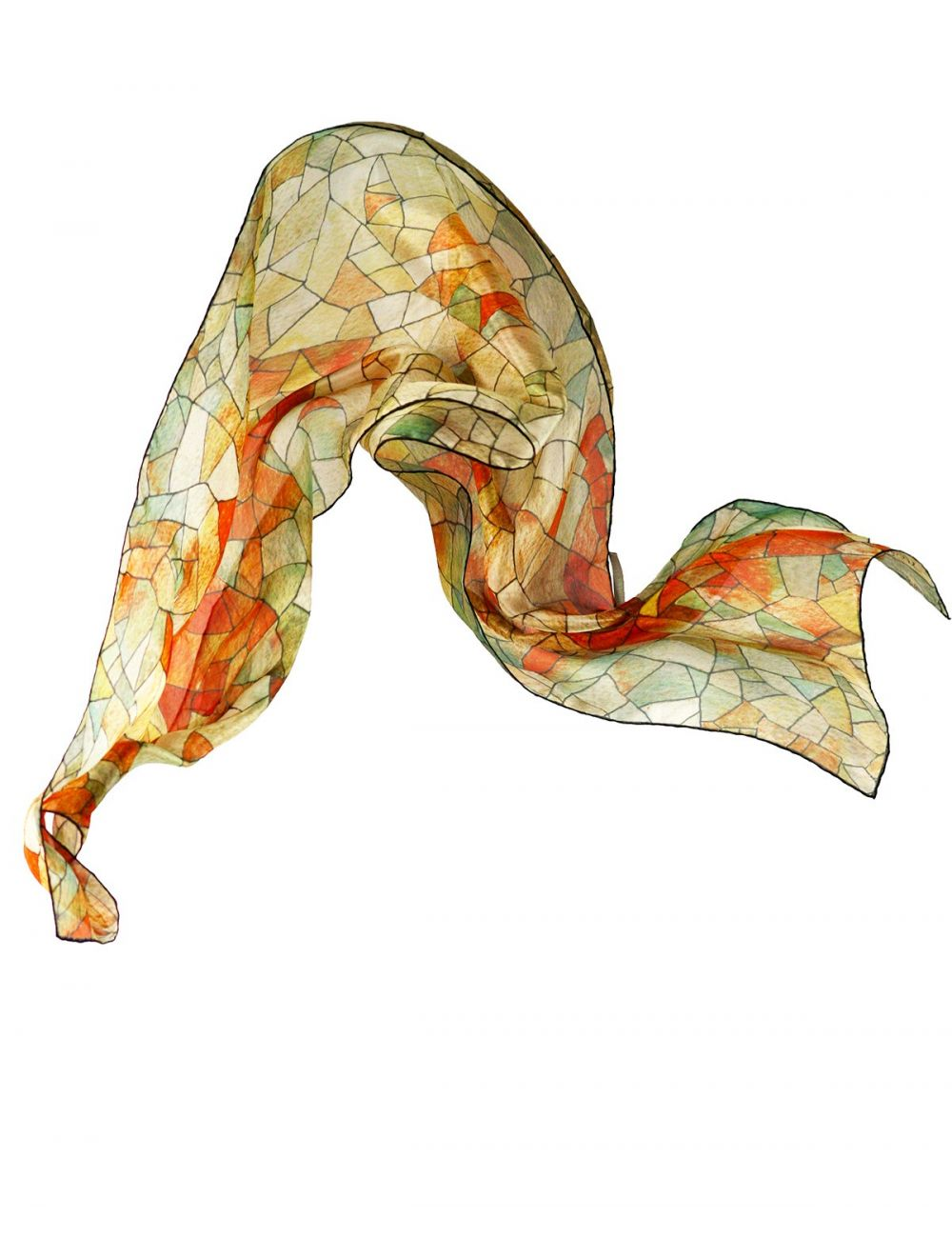 """Heaven and Earth"", silk scarf inspired in Gaudí's art. Fall colors on a geometric design."
