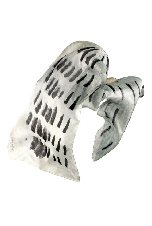 """""""Light Path"""" silk scarf in black and white"""