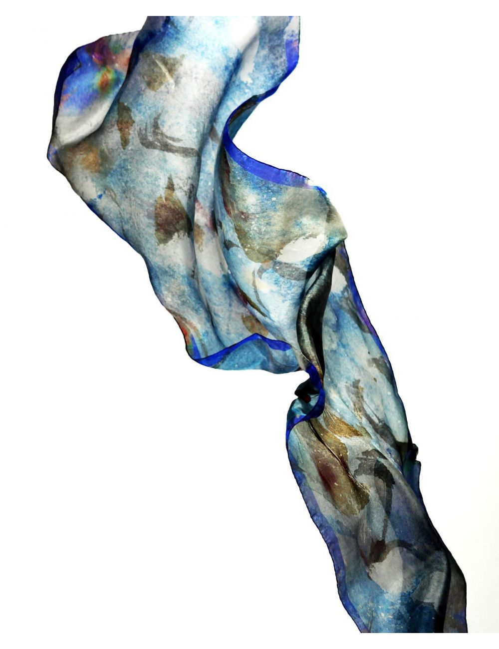"""Rough sea"" silk scarf inspired by a stormy blue sea."