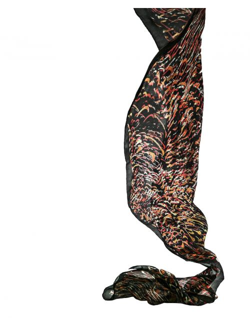 """San Juan Fire Black"" silk scarf"
