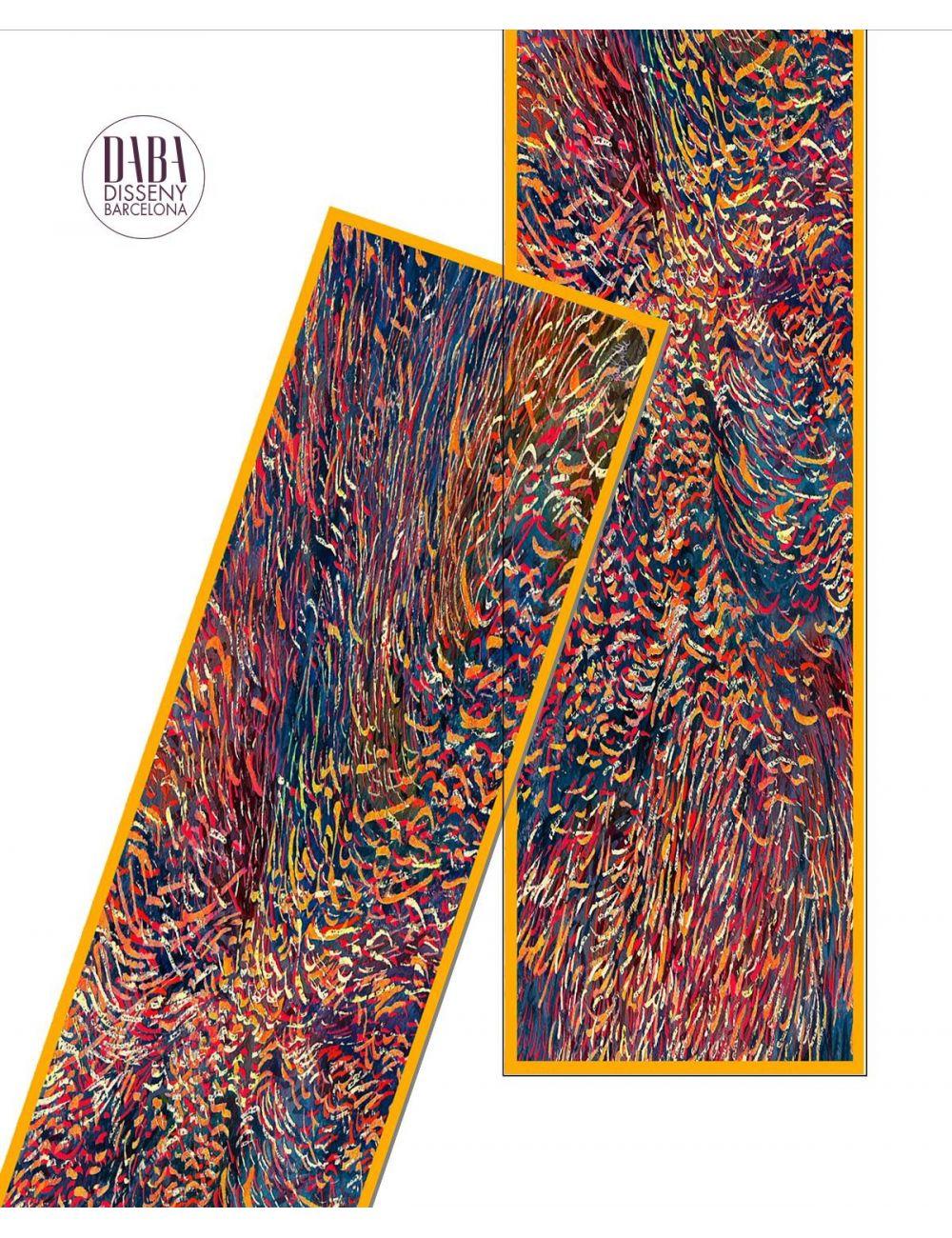 97ae92f7673 Men's extra long silk scarf with a fire like print | Dabadisseny.com