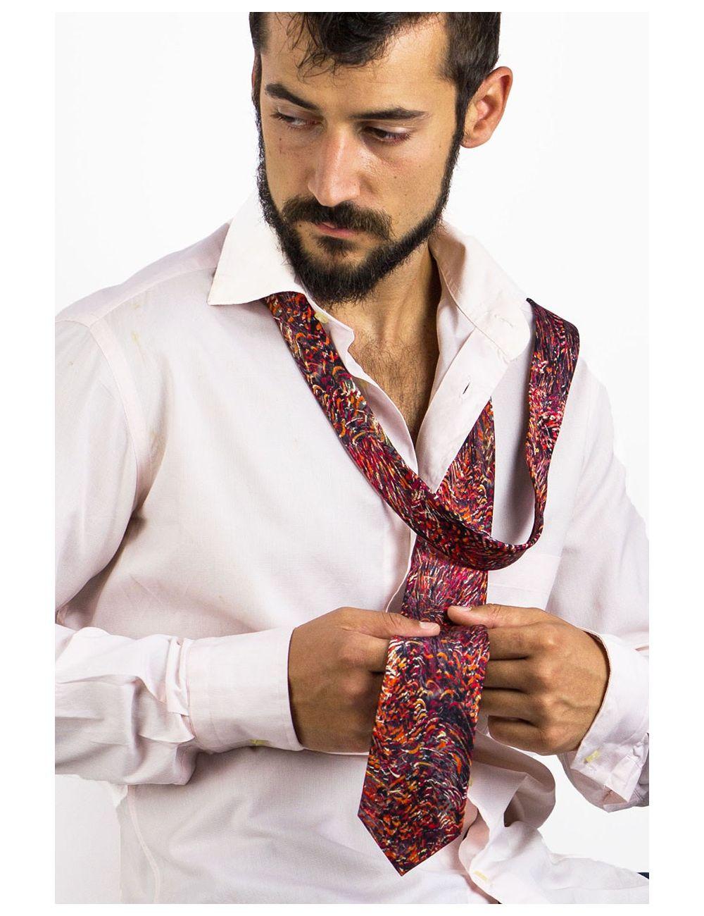 Silk Tie Foc de Sant Joan, exclusive design inspired by fire