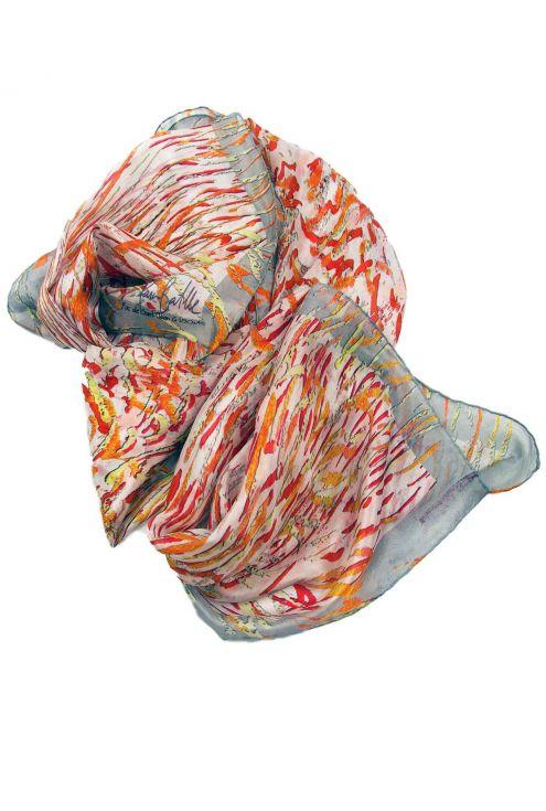 """San Juan Fire G"" silk scarf on reds, oranges and greys"