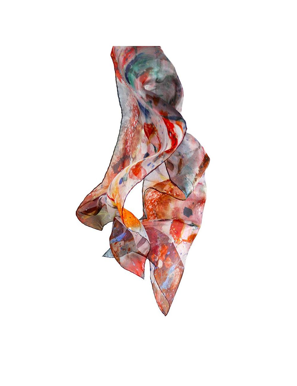 """Tropic"" silk scarf on warm, vivid and fresh colors"