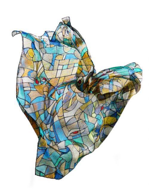 """""""Ojos Azules"""" fular de seda natural, inspirado en la luz de los vitraless de la Sagrada Familia de Gaudi"""