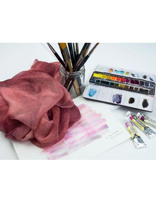 """Coral"" Silk scarf with the original design in watercolor."