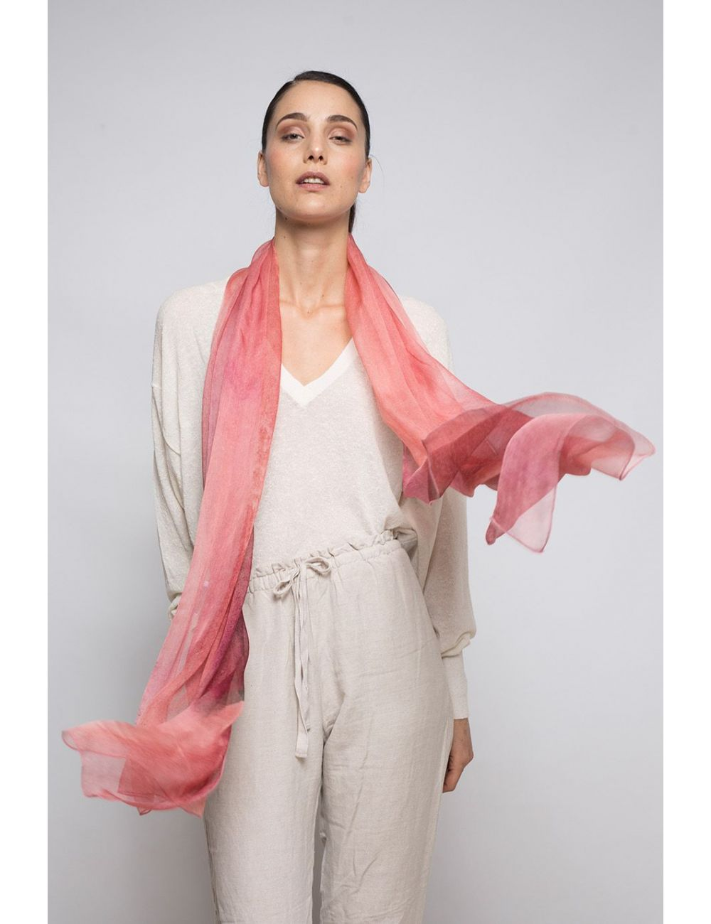 "Extra large Silk Scarf ""Coral"" - Cool Chiffon Silk"