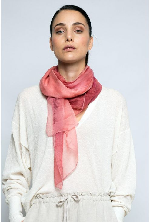 "Extra large Silk Scarf ""Coral"" - Cool Chiffon Silk"