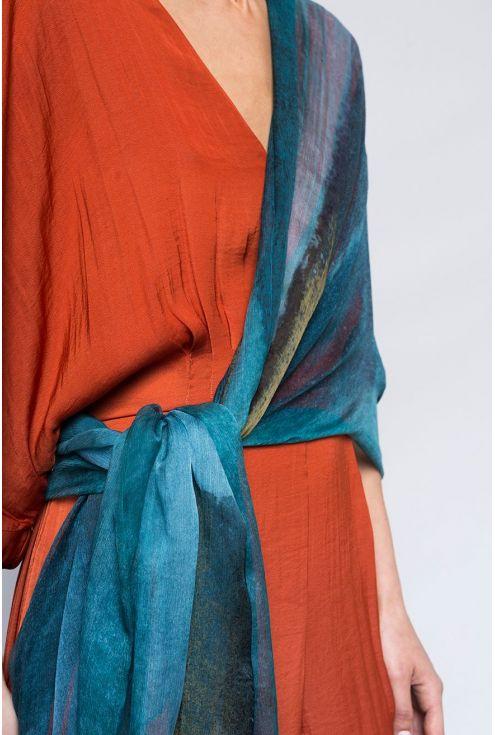 "Extra large Silk Scarf ""Light in the Mist"" - Cool Chiffon Silk"