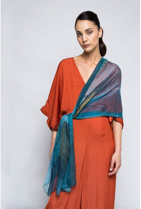 "Extra large Silk Scarf ""Light in the Mist"" - Cool Chiffon Silk"