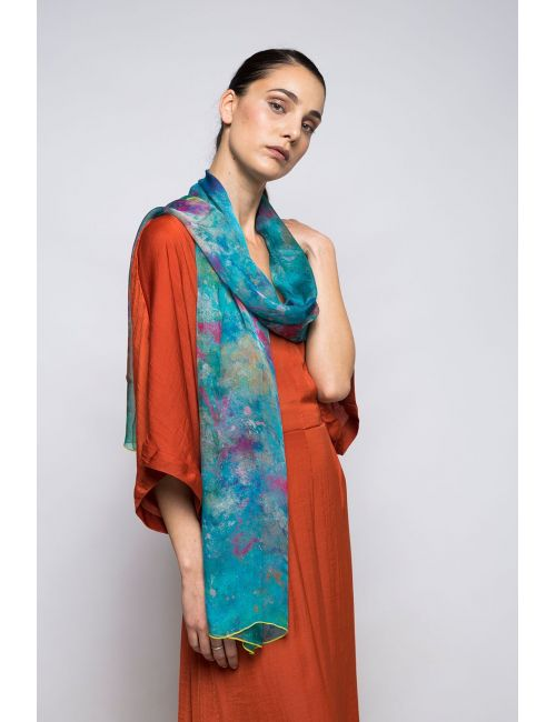 "Extra large Silk Scarf ""Hidden Worlds"" - Cool Chiffon Silk"