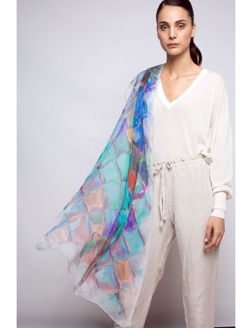 """Fulard Gerbera """"Escates"""" - Inspirat en la Casa Batlló de Gaudí"""