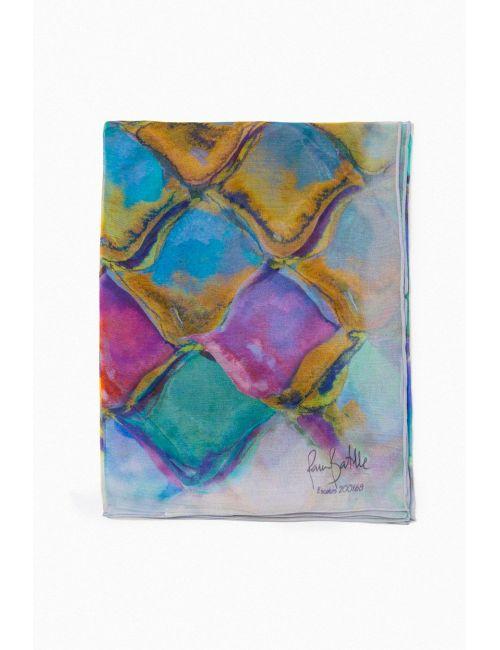 """Chiffon Silk Shawl """"Gaudi Scales"""" - Inspired by Casa Batlló by Gaudí"""