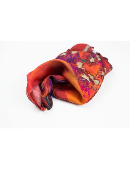 """Extra large Silk Scarf """"Feathers on the Red Wind"""""""