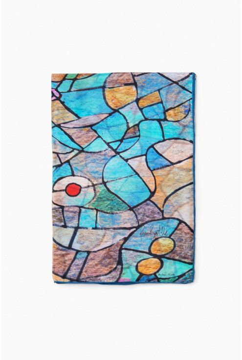 """""""Blue eyes"""" silk scarf inspired by Sagrada Familia stained glass light Gaudí"""