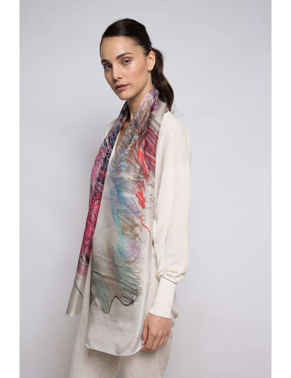 """Boc de Paris"" silk scarf - elegant and stylish"