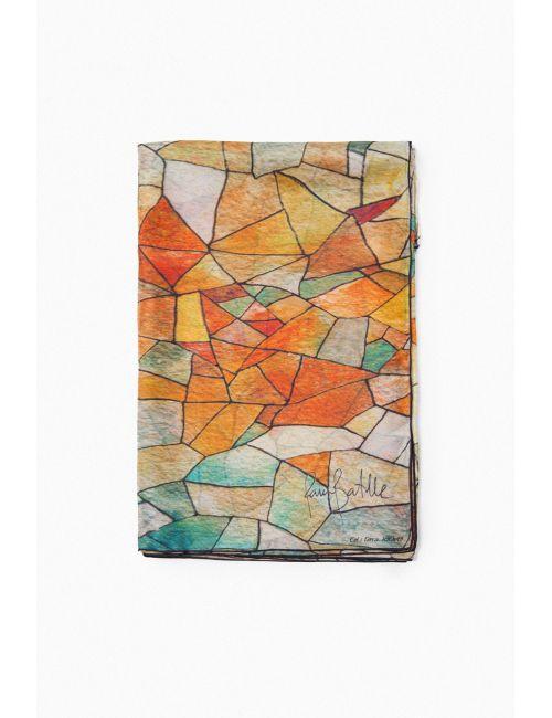 """""""Cel i Terra"""", fulard de seda natural i disseny geomètric inspirat en l'art d'en Gaudí. Colors torrats."""