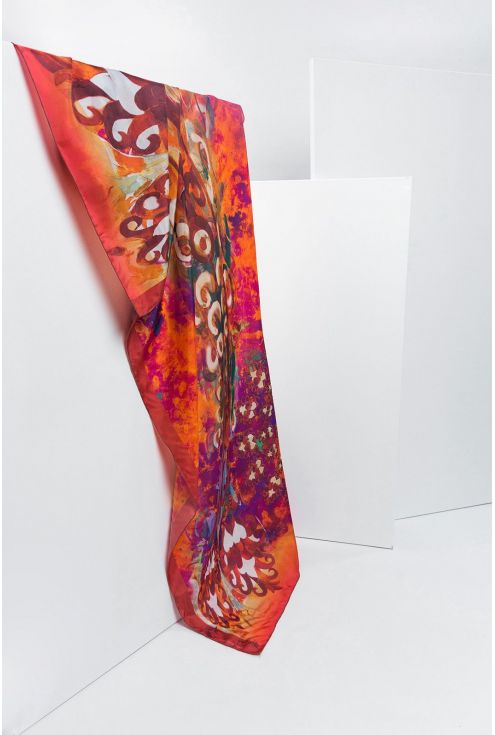 "Extra large Silk Scarf ""Feathers on the Red Wind"""