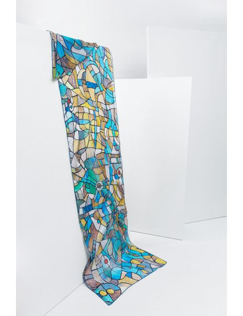 """Blue eyes"" silk scarf inspired by Sagrada Familia stained glass light Gaudí"