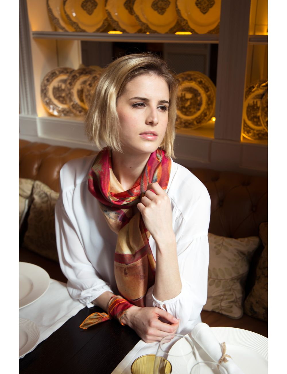 "Silk Scarf ""Sant Pau Red Rose"""
