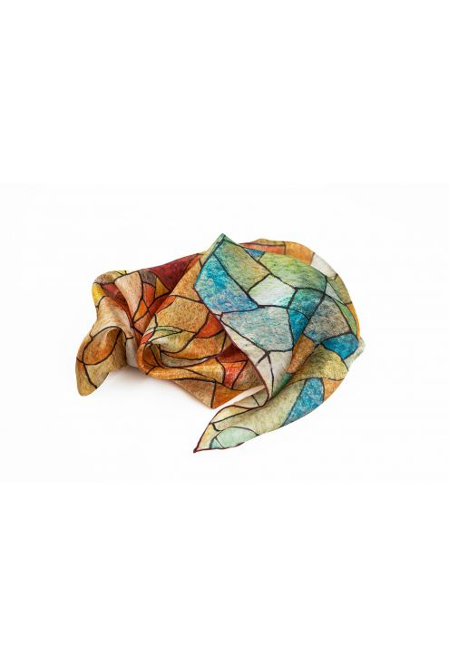 """""""Heaven and Earth"""", silk scarf inspired in Gaudí's art. Fall colors on a geometric design."""