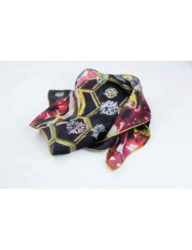 "Silk scarf ""Honeycomb heart"""