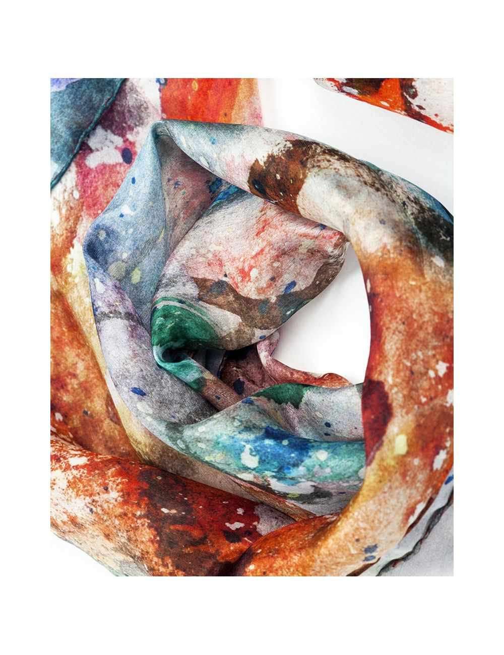 """""""Crabs"""" silk scarf on warm, vivid and fresh colors"""