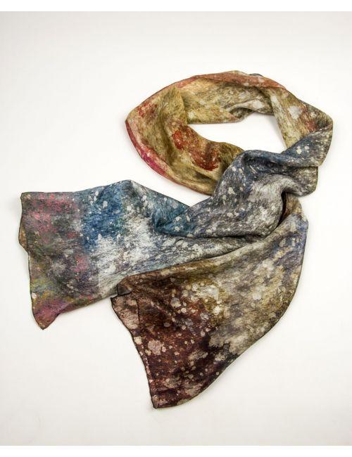"""Fulard de seda """"Pols còsmica"""", atreveix-te a portar l'Univers al teu coll!"""