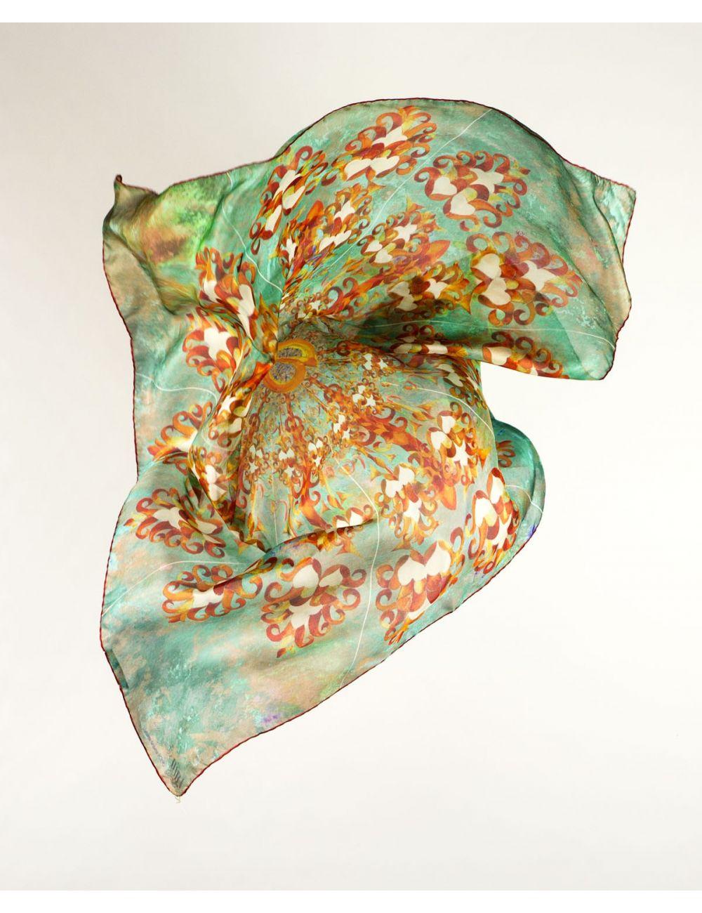 """Mocador de seda """"Llanterna"""" inspirat en l'Hospital de Sant Pau a Bcn"""