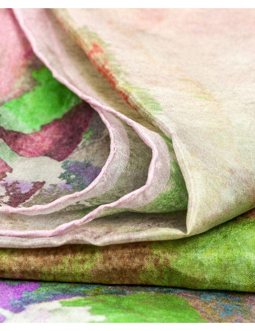 """Fulard de seda """"Buzzing Garden Pink"""""""