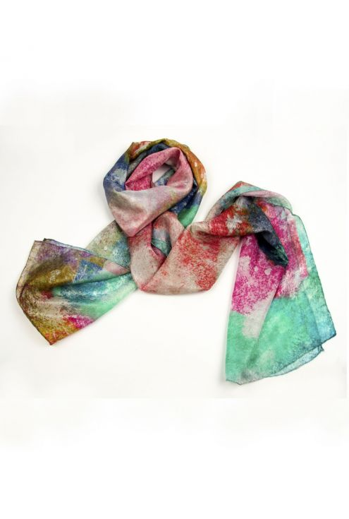"""Fuchsia Paradise"" silk scarf on vivid and joyful colors"