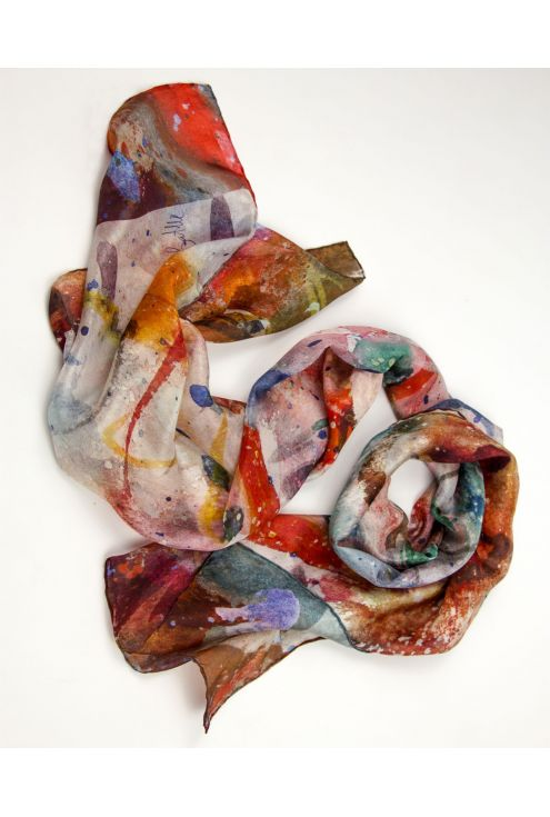 """Crabs"" silk scarf on warm, vivid and fresh colors"